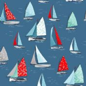 Sea Breeze by Makower UK - 6310 - Yachts on Blue - 2082_B7 - Cotton Fabric